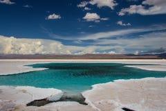 Acqua nel deserto del sale delle saline Grandes fotografia stock libera da diritti