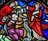 Acqua notevole di Mosè dal vetro macchiato di roccia Immagine Stock Libera da Diritti