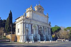 Acqua Paola fountain on the Janiculum Hill, Rome, Italy. Acqua Paola fountain also known as Il Fontanone, monumental fountain located on the Janiculum Hill, Rome Royalty Free Stock Photos