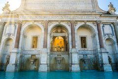 Acqua Paola Fountain in Rome, Italy. The Fontana dell`Acqua Paola also known as Il Fontanone `The big fountain` is a monumental fountain located on the Royalty Free Stock Photos