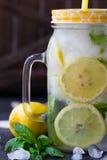 Acqua sana con la menta, i limoni affettati ed i cetrioli Bevanda di dieta Acqua sfacciata Barattolo di muratore in pieno con la  Fotografia Stock Libera da Diritti