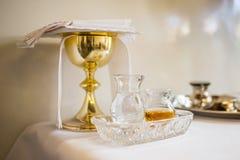 Acqua santa ed olio per unzione Fotografia Stock Libera da Diritti