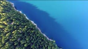 Acqua sempreverde del turchese degli abeti del lago alpino aerial View video d archivio