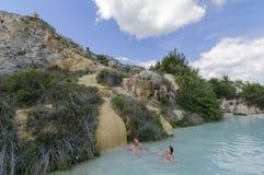 Acqua termale in Bagno Vignoni, Toscana, Italia, Europa Immagine Stock Libera da Diritti