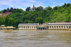 Acqua unita nel giugno 2013 a Praga, Moldau, la Moldava, repubblica Ceca Fotografia Stock Libera da Diritti