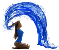 Acqua Wave, colore blu della donna del costume da bagno sexy della ragazza su bianco immagini stock libere da diritti