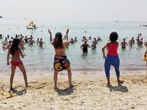 Acquagym en la playa Imagen de archivo libre de regalías