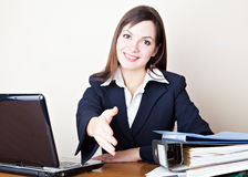 Acquaintance with the business woman. Acquaintance with the young business woman royalty free stock photos