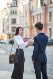 Acquaintance and communication of businessman, businesswoman stock photography