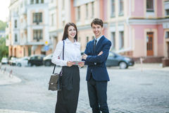 Acquaintance and communication of businessman, businesswoman royalty free stock photos
