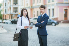 Acquaintance and communication of businessman, businesswoman royalty free stock photo