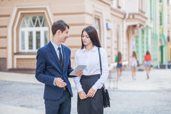 Acquaintance and communication of businessman, businesswoman stock image