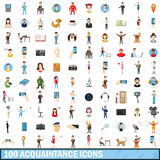 100 acquaintance icons set, cartoon style Stock Photos