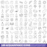 100 acquaintance icons set, outline style. 100 acquaintance icons set in outline style for any design vector illustration Stock Photography
