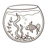 Acquario con un pesce Fotografie Stock Libere da Diritti
