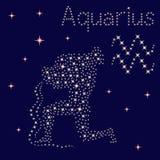 Acquario del segno dello zodiaco sul cielo stellato illustrazione vettoriale