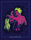Acquario del segno dello zodiaco sul fondo stellato di notte Fotografia Stock Libera da Diritti