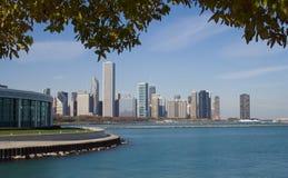 Acquario di Shedd e orizzonte del Chicago Fotografia Stock Libera da Diritti