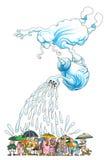 Acquazzone pesante (acquazzone, cloud-burst) Fotografia Stock Libera da Diritti