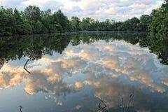 Acque del ramo paludoso di fiume che riflettono le nuvole di mattina fotografia stock