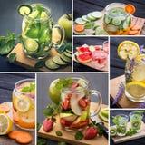 Acque infuse da varia frutta tropicale Fotografia Stock