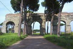Acquedotti degli Parco κατά μήκος του τρόπου Appian στη Ρώμη Στοκ Φωτογραφίες