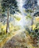 """Acquerello """"paesaggio della foresta """" immagine stock libera da diritti"""