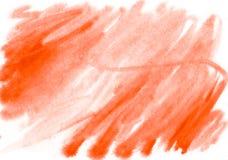 Acquerello arancio astratto su fondo bianco La spruzzata di colore Immagine Stock