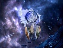 Acquerello artistico astratto di un collettore di sogno multicolore su un fondo galattico del materiale illustrativo della nebulo fotografia stock libera da diritti