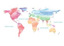 Acquerello artistico della mappa di mondo Fotografie Stock Libere da Diritti