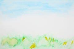 Acquerello astratto del cielo e dell'erba Fotografia Stock Libera da Diritti