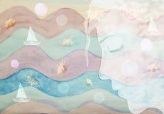 Acquerello astratto del fronte della ragazza dell'immagine del mare illustrazione vettoriale