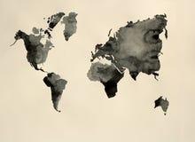 Acquerello in bianco e nero del mondo della mappa Fotografie Stock Libere da Diritti