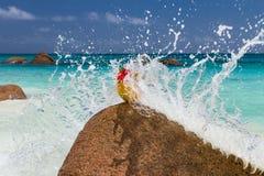 Acquerello blu della spiaggia del paesaggio dell'oceano fotografia stock libera da diritti