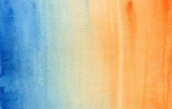 Acquerello blu ed arancio di pendenza orizzontale immagine stock libera da diritti