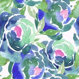 Acquerello blu Rose Seamless Pattern Immagini Stock
