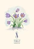 Acquerello cartolina d'auguri 8 marzo con i bucaneve illustrazione vettoriale