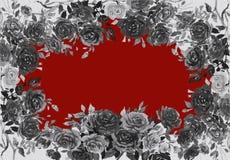 Acquerello che dipinge colore nero del fiore delle rose royalty illustrazione gratis