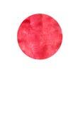 Acquerello che dipinge il fondo rosso del cerchio sulla carta bianca della tela Immagine Stock Libera da Diritti