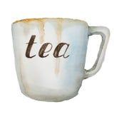 Acquerello che dipinge una tazza di tè Immagine Stock