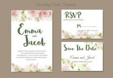 Acquerello d'annata della rosa di rosa dell'invito di nozze di stile disegnato a mano royalty illustrazione gratis