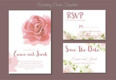 Acquerello d'annata della rosa di rosa dell'invito di nozze di stile disegnato a mano illustrazione di stock