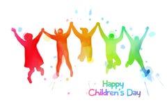 Acquerello dei bambini felici che saltano insieme Giorno felice del ` s dei bambini royalty illustrazione gratis