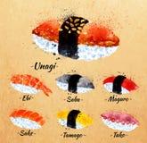 Acquerello dei sushi in Kraft Immagine Stock