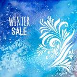 Acquerello del fondo di vendita di inverno Fotografie Stock Libere da Diritti