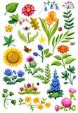 Acquerello del giardino floreale Immagini Stock Libere da Diritti