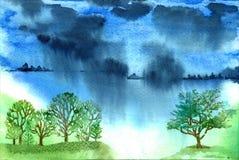 Acquerello del paesaggio della pioggia Fotografia Stock