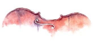 Acquerello del violino su fondo bianco royalty illustrazione gratis