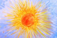 Acquerello dell'illustrazione a mano. Il sole ed il cielo Immagine Stock