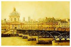 Acquerello dell'Institut de France a Parigi Fotografie Stock Libere da Diritti